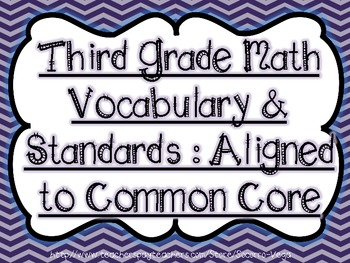 Third Grade Math Vocabulary & Standards: Common Core!!Bundle Pack