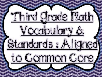 Third Grade Math Vocabulary & Standards: Common Core!!Bundle Pack