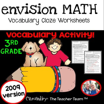 enVision Math 3rd Grade 2009 version Vocabulary CLOZE Worksheet Activities