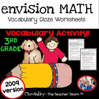 enVision Math 3rd Grade Vocabulary Cloze Worksheets Topics 1 - 20
