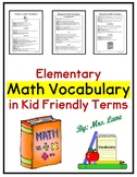 Elementary Math Vocabulary in Kid-Friendly Terms