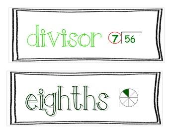 Third Grade Math Word Wall Cards - B&W Border
