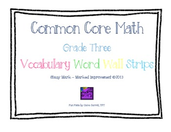 Third Grade Math Word Wall Cards - B&W Border