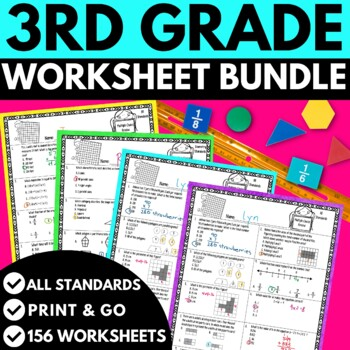 Third Grade Math Worksheets BUNDLE!