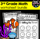 DISTANCE LEARNING Third Grade Math Worksheets Packet