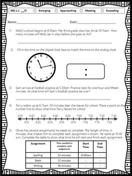 Third Grade Mathematics Standards Based Assessment MD and G Standards