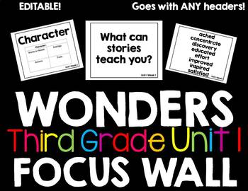 Third Grade McGraw Hill Focus Wall (editable!) (Unit 1)