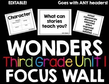 Third Grade Wonders Focus Wall (editable!) (Unit 1)