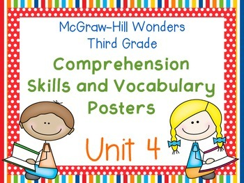 Third Grade McGraw-Hill Wonders Comprehension and Vocabulary Posters-Unit 4