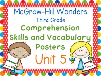 Third Grade McGraw-Hill Wonders Comprehension and Vocabulary Posters-Unit 5