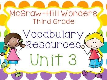 Third Grade McGraw-Hill Wonders Vocabulary Resources-Unit 3
