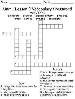 Third Grade McGraw Hill Wonders puzzles - unit 1