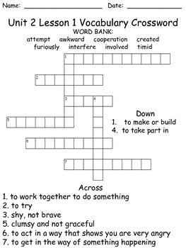Third Grade McGraw Hill Wonders puzzles - unit 2