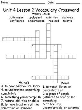 Third Grade McGraw Hill Wonders puzzles - unit 4