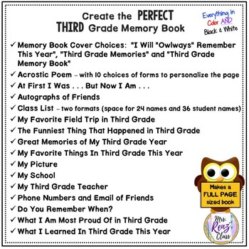 3rd Grade Memory Book (Full Page Format in Color and BW) Owl Themed