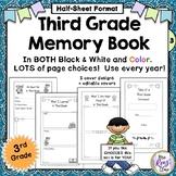 Memory Book 3rd Grade - Third Grade Memory Book (Half Page Size) Kids &Stars