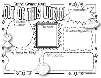 {Freebie!} Third Grade Memory Page (Space Theme)