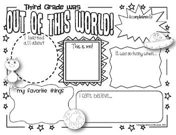 {Freebie!} Third Grade Memory Page (Space Theme)
