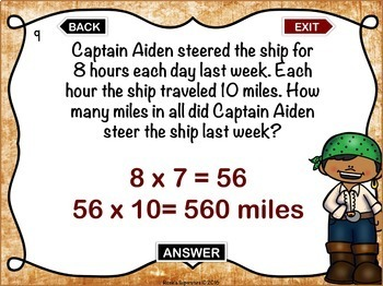 Third Grade Mixed Math Practice PowerPoint Game: Pirate Themed