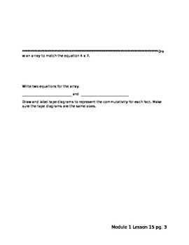 Third Grade Module 1 Lesson 15 Worksheets