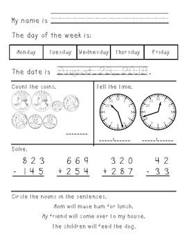 Third Grade Morning Work August through December