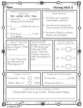 Eloquent image in 3rd grade morning work printable