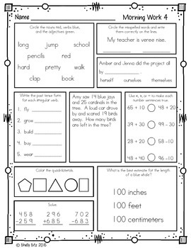 Morning Work for Third Grade (First Quarter)
