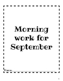Third Grade Morning Work (September)