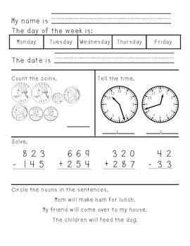 Third Grade Morning Work Weeks 1-18 No Date Printed