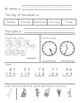 Third Grade Morning Work Weeks 19-41 No Date Printed - complete bundle