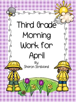 Third Grade Morning Work for April-ELA and Math-Common Cor