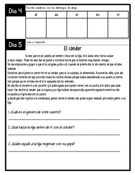 Third Grade Morning Work for April in Spanish