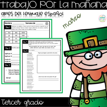 Third Grade Morning Work for March in Spanish