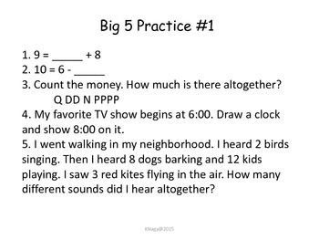 Third Grade Morning Work/Big 5