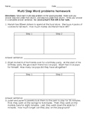 Third Grade Multi Step Word Problems: Addition, Subtraction & Multiplication