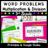 Third Grade Multiplication & Division Word Problems- Common Core 3.OA.A.3