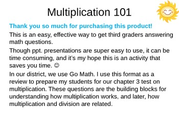 Third Grade Multiplication Review