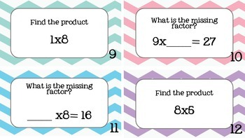 Third Grade Multiplication Task Cards