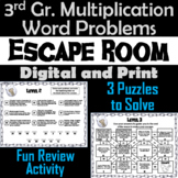 Third Grade Multiplication Word Problems Game: Escape Room Math
