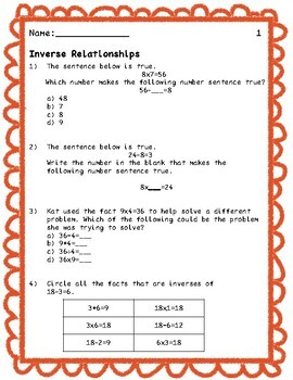 Third Grade Multiplication and Division Practice