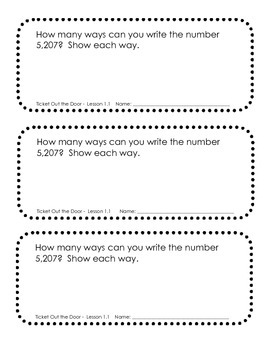 McGraw Hill My Math Formative Assessment Slips - Chapter One THIRD GRADE
