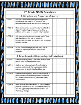 Third Grade NGSS checklist