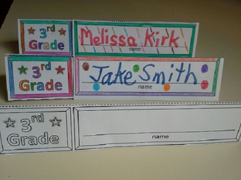 Third Grade Name Cards Foldable and Standable