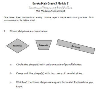 Third Grade Math Assessment/Test Prep (Geometry & Measurement)