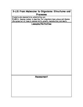 Third Grade Next Generation Science Standards Planning Sheet
