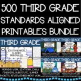 Third Grade No Prep Language, Reading, Writing, and Math Work Bundle
