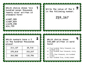 Third Grade Number Sense Task Card Review