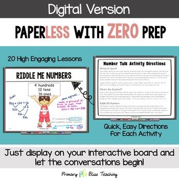 Third Grade Number Talks: Unit 6 (February) DIGITAL & Printable