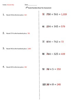 Third Grade Number and Operations in Base Ten Assessment (Common Core Aligned)