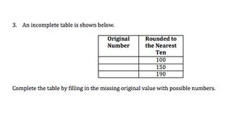 Third Grade Number in Base Ten Standard Based Assessments